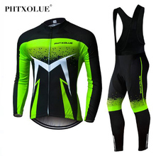 цена на Phtxolue Pro Winter Thermal Fleece Cycling Jersey Set Maillot Ropa Ciclismo MTB Bicycle Clothes Wear Long Sleeve Bike Clothing