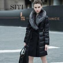 new women down warm velvet Pleuche show coat jacket parka elegant fashion winter outerwear fox fur collar thick plus size