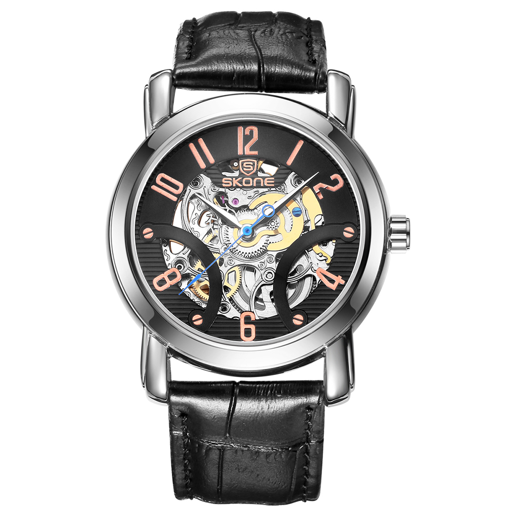 SKONE Automatic Mechanical Watches Men TOP Luxury Genuine Leather Strap Casual Watch Waterproof Skeleton Watch  masculinoSKONE Automatic Mechanical Watches Men TOP Luxury Genuine Leather Strap Casual Watch Waterproof Skeleton Watch  masculino