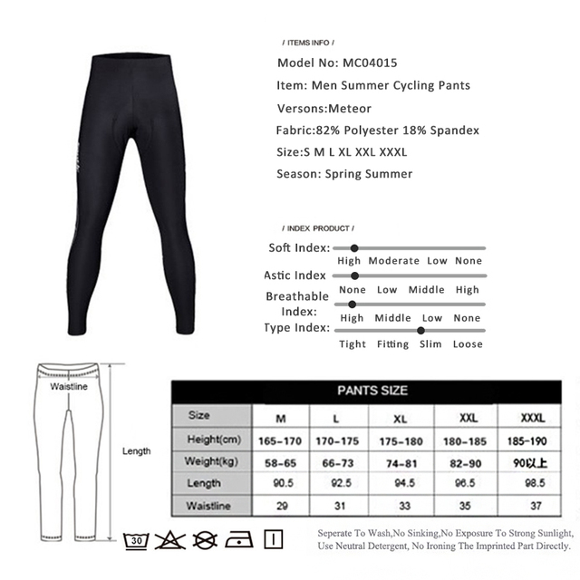 Santic Spring Cycling Pants Men Long Pants Cycling Bike Riding Cycling Pants Mens Padded Gel Black Pants Cycling 3XL MC04015