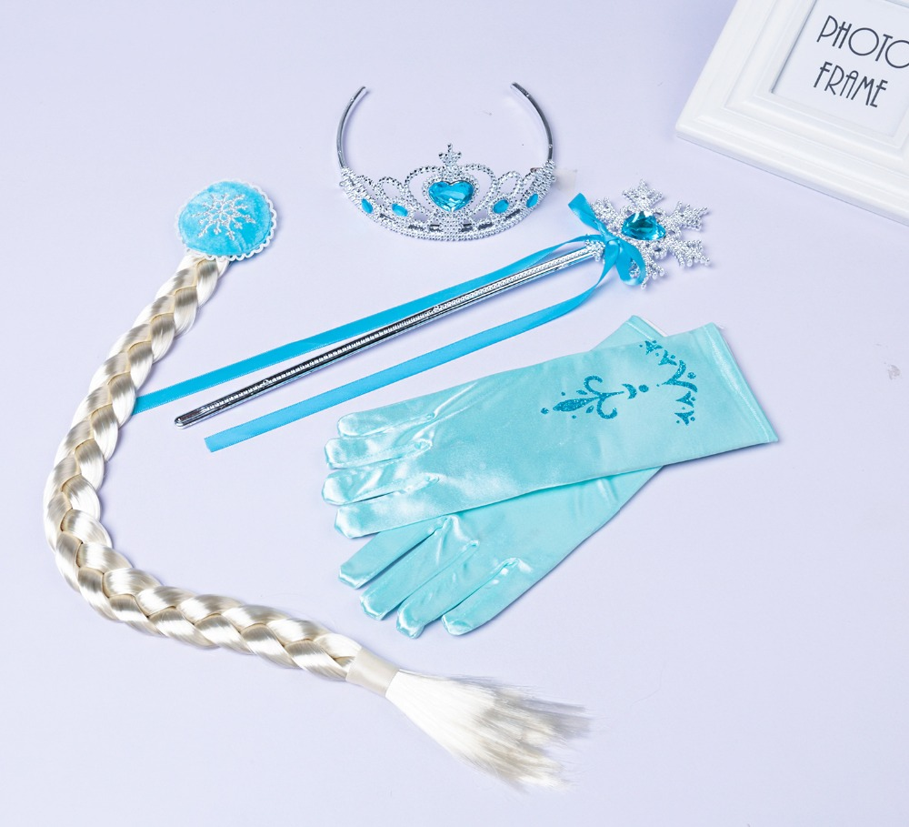 4Pcs Cosplay Crown Tiara Hair Accessory Crown Wig Magic Wand For Elsa Anna