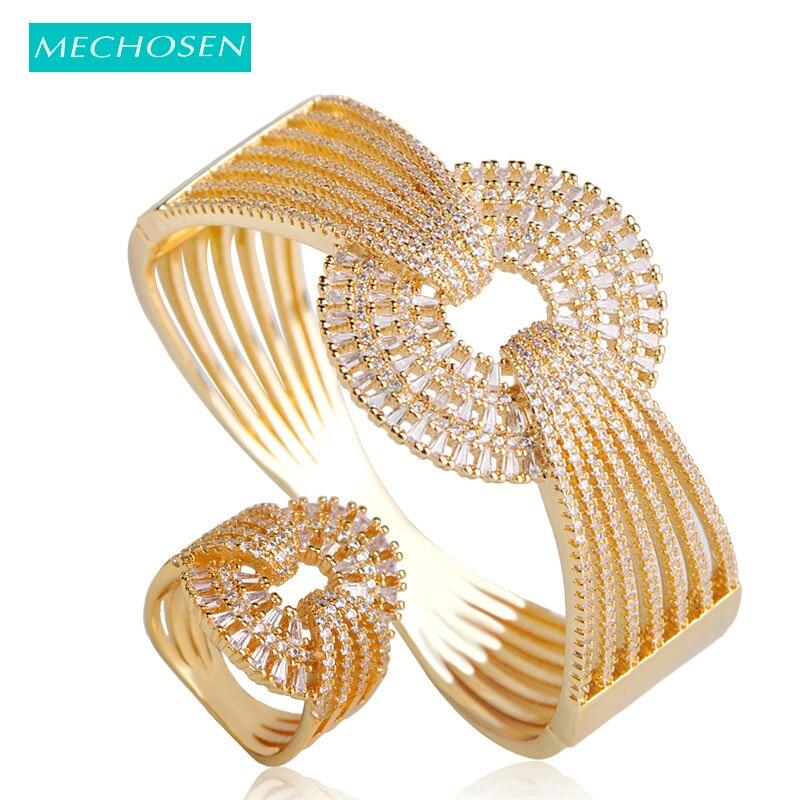 MECHOSEN Fashion European Style Women Bangle Ring Sets Gold ColorCubic Zirconia Pulseira Anillos Feminino Hand Jewelry Sets