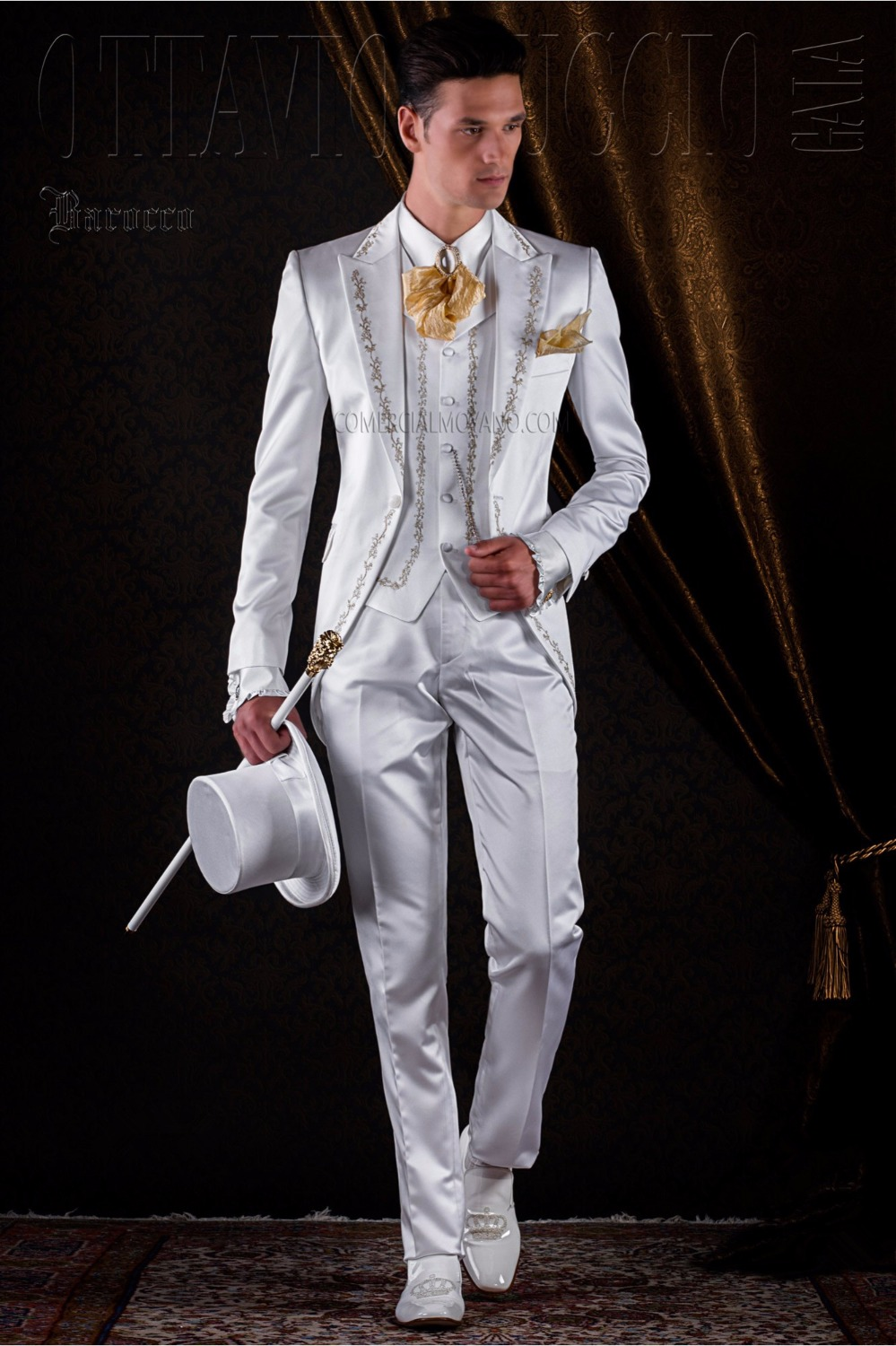 Hot Sale Latest Coat Pant Designs Ivory White Satin Embroidery