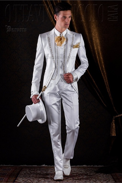 Latest Coat Pant Designs Ivory White Satin Embroidery Italian Men