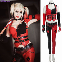 Batman Arkham Asylum Harley Quinn Sexy Costume Carnival Halloween Cosplay Girl Outfit Party Dress Dark Knight