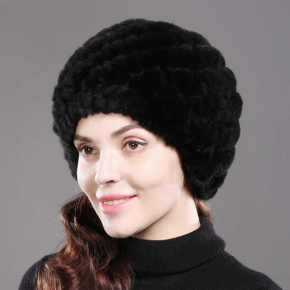 2019 senhora inverno real natural rex coelho pele chapéu menina 100% rex coelho boné de pele quente macio malha genuína skullies beanies