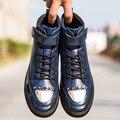 Мужчины Повседневная Обувь Мода Мужчины Обувь Люксовый Бренд Черный Высокий Верх Квартиры Обувь Для Мужчин Сапоги Chaussure Homme мужской тренеров