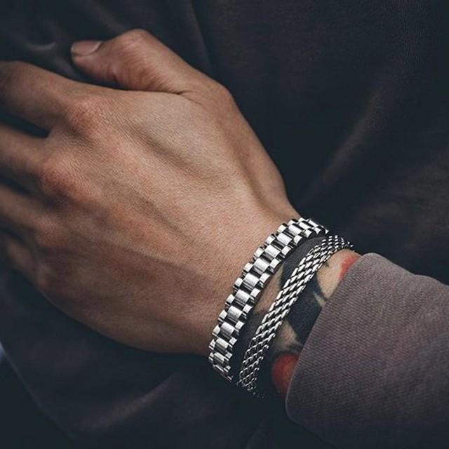 מתכת שעון מוצק נירוסטה יובל סגנון צמיד עבור גברים קישור שרשרת Brackelts Brazalet זכר תכשיטי כסף טון