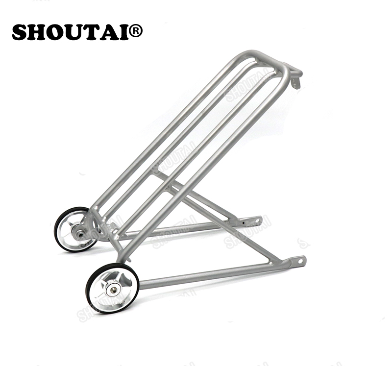 Bicycle Ultra-Light Aluminum Bracket Mini  Rack Small Wheel for Brompton Folding Cycling Bike Part new titanium tc4 refitted single left quick release bicycle pedal spindles axles 77 3g pair for folding brompton bike pedals
