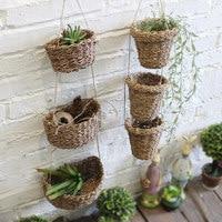 hemp hand woven wicker basket rattan baskets small wall mounted hook type flowerpot home hanging basket home decor USA style