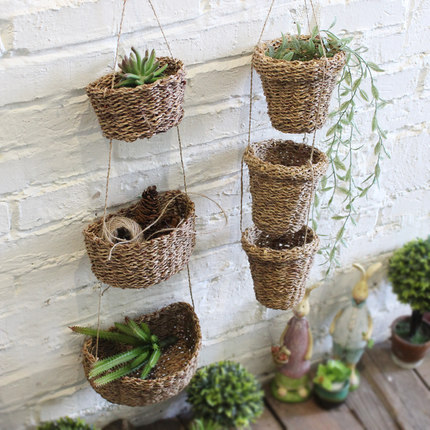 Hemp Hand Woven Wicker Basket Rattan Baskets Small Wall Mounted Hook Type Flowerpot Home Hanging Decor Usa Style In Storage From