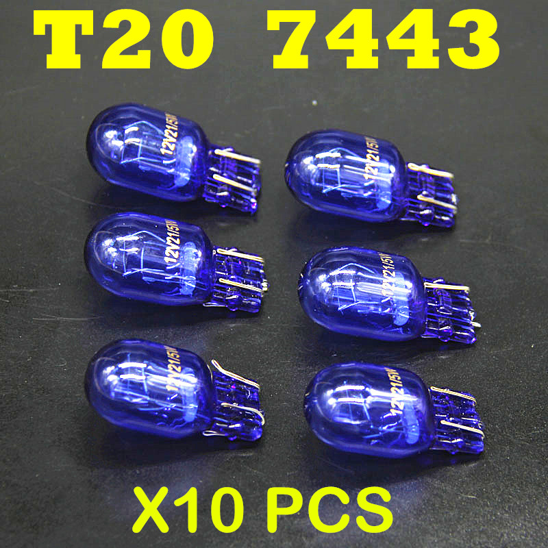 10 pcs 580 7443 W21/5W XENON T20 Natural Blue Glass 12V 21/5W W3x16q Double Filament Super White Car Bulb цена