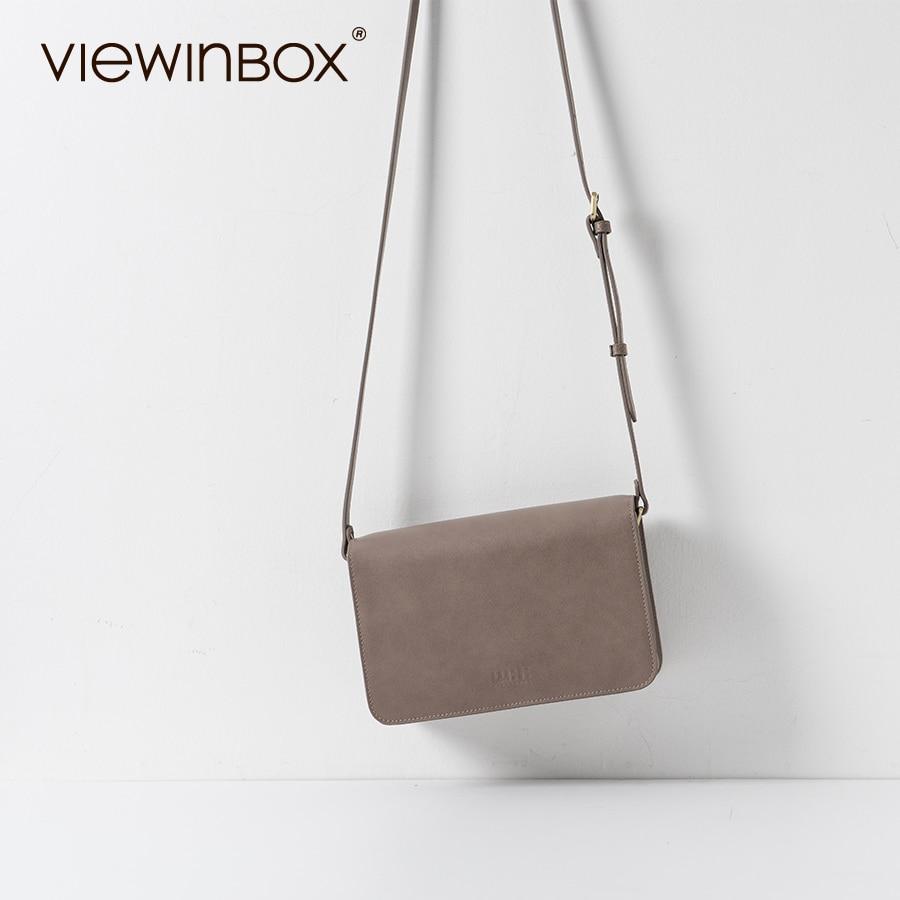 Viewinbox Vintage Fashion Leather Mini Flat Messenger Bags Women s Joker Postman Bag Preppy Chic Shoulder