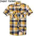 2017 summer free shipping men's plaid shirt short sleeve  cotton frabic wholesale casual clothes plus size men's clothes 55