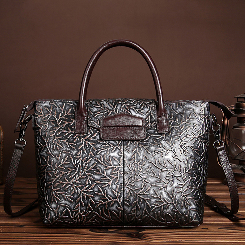 Luxury First Layer Cowhide Embossed Handbag For Women Designer Genuine Leather Tote Bag Casual Travel Shoulder Messenger Bags [whorse] brand luxury fashion designer genuine leather bucket bag women real cowhide handbag messenger bags casual tote w07190