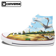 Mens Womens Converse All Star Skateboarding Shoes Hand Painted Dinosaurs High Top Canvas Sneakers Waterproof Painting Gifts