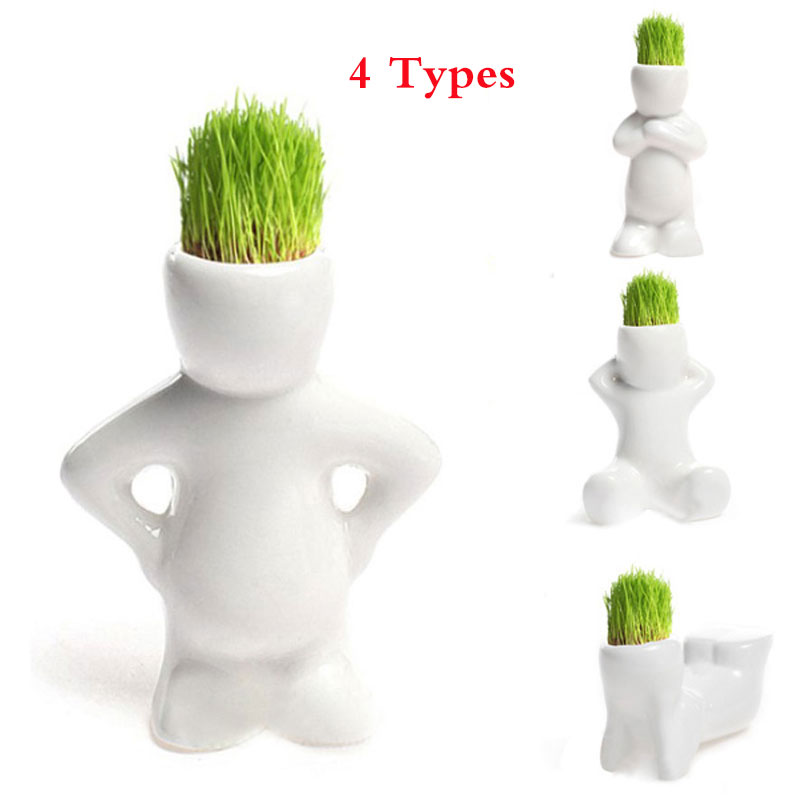 4 Shape Choose DIY Mini Novel Bonsai Grass Doll Hair White Lazy Man Plant For Garden Planting Bonsais Gift Home Decoration