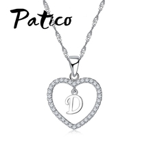 PATICO Top Quality Letter Pendant Necklace 925 Sterling Silver Trendy English Letter Design Summer Style Jewelry Accessory