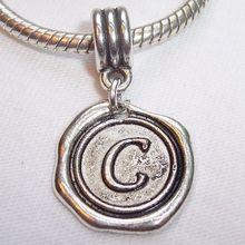Hot ! 100pcs Tibetan Silver Letter C Alphabet Initial Dangle Bead for European Style Charm Bracelets 27 mm x 19