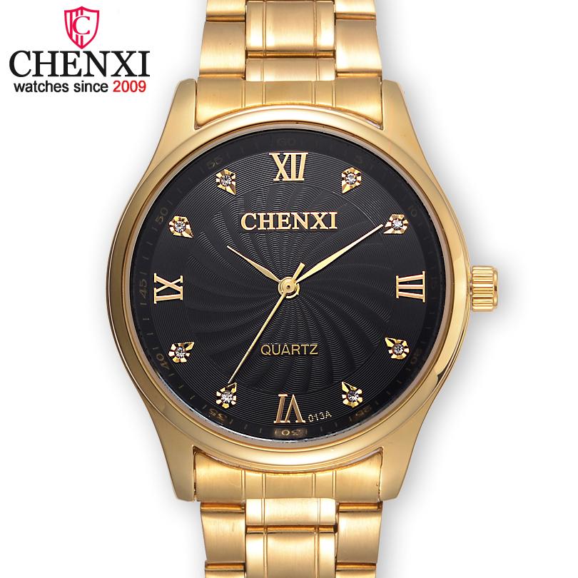 Prix pour CHENXI Marque De Luxe Célèbre Mâle Beaux Strass Or Horloges Hommes Montres À Quartz En Acier Inoxydable Montre En Or Hommes relogio dourado