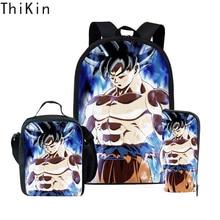 THIKIN Dragon Ball Z School Backpack Set Girls Boys 3PCS Schoolbag Casual Children Students Back Pack Orthopedic Bookbag Mochila