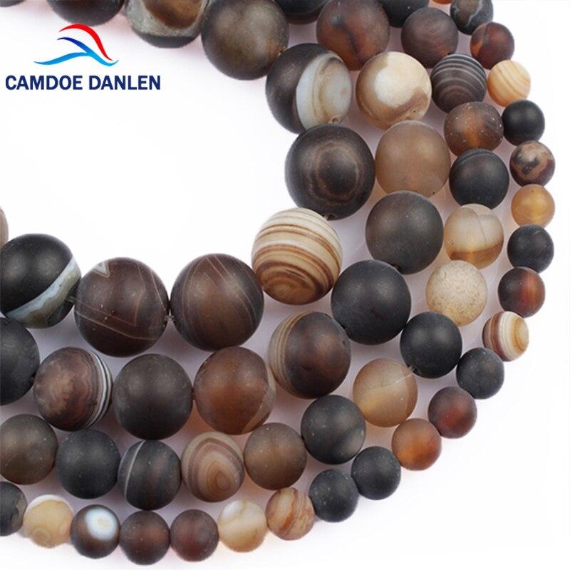 CAMDOE DANLEN Přírodní kámen nudný polský matný kávový proužek acháty Korálky 6 8 10 12MM Diy Charms Distanční korálky pro výrobu šperků