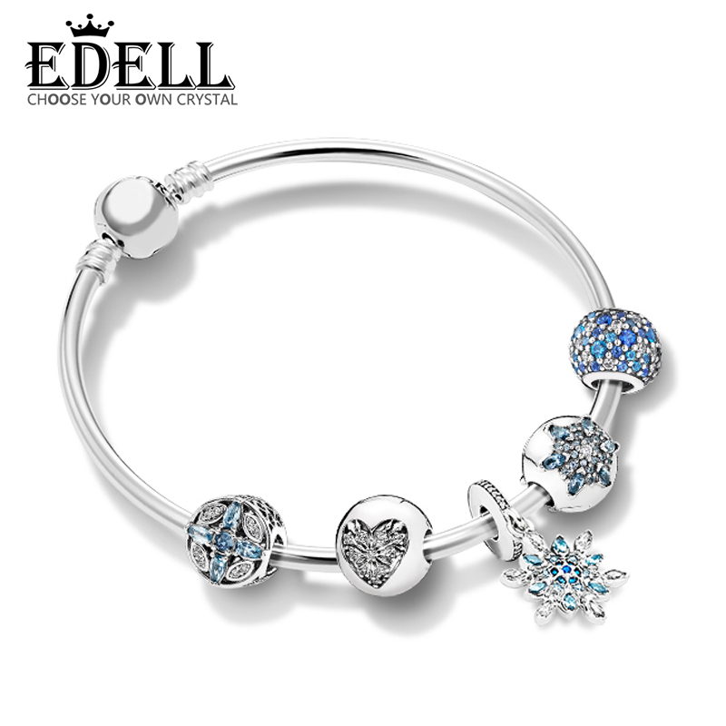 EDELL 100% 925 Sterling Silver New 1:1 Ice Crystal Snowflake Condensed Cream Bracelet Set Charming Fashion Elegant Jewelry Gift edell 100% 925 sterling silver new 1 1 heart rhyme zt0186 string jewelry fashion bracelet set women s charming gift jewelry