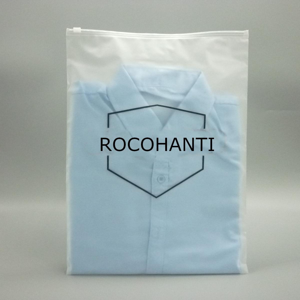 200x Matte Frosted Plastic Bag Customized Logo Printing Apparel Reusable Ziplock Bag Garment Towel T Shirt