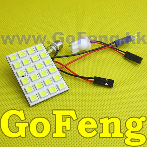 100pcs/lot T10 24 SMD Festoon Adapter LED Headlight 5050 24SMD 24LED Light Panel T10