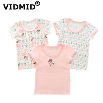 VIDMID dziecięce koszulki dla dziewczynek koszulki dla dzieci dziewczyny dzieci odzież cartoon niedźwiedź z krótkim rękawem dziewczyny koszulki topy 4003 tanie i dobre opinie COTTON Na co dzień Tees Pasuje prawda na wymiar weź swój normalny rozmiar Chłopcy O-neck REGULAR