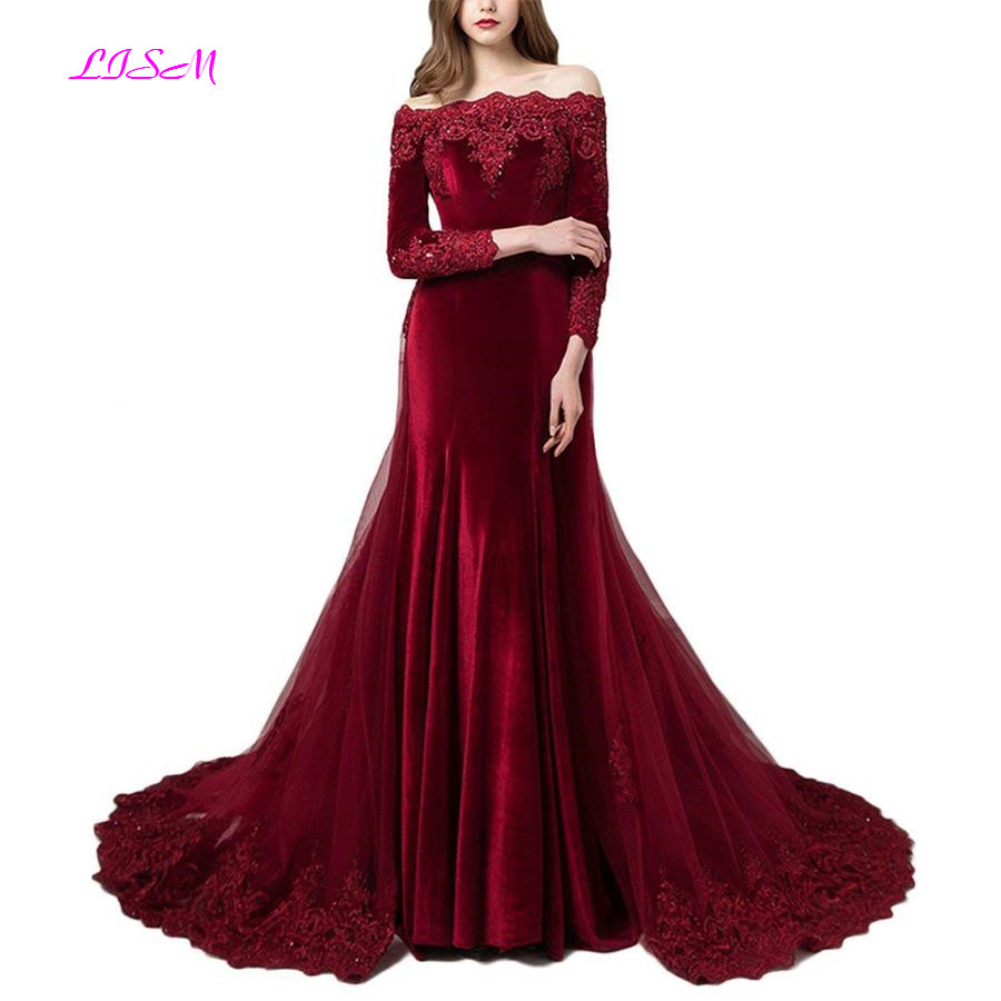 Vintage Off the Shoulder Long   Evening     Dress   Beaded Lace Appliqued Prom Gown velour Sweep Train   Dress   for Weddings robe de soiree