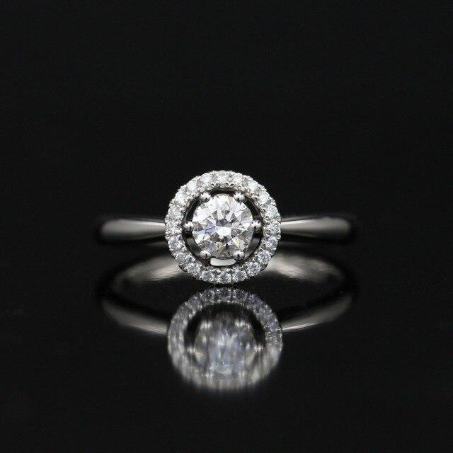 LASAMERO 0.305CT FG SI Round Cut Modern Halo Natural Diamond Ring For Women  18k White Gold Certified Engagement Wedding Ring 2f8878064