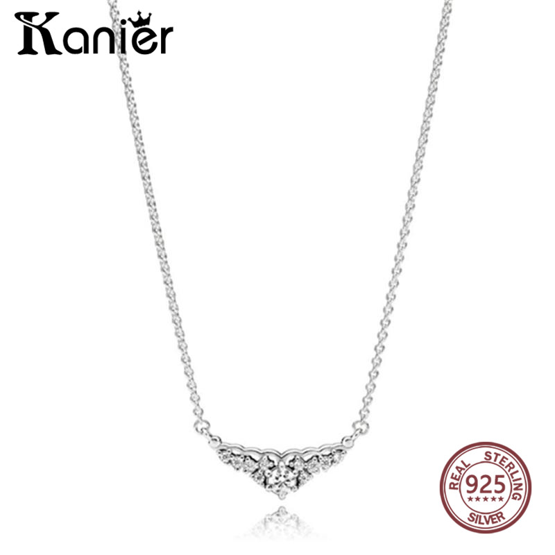 KANIER Fashion Fairytale Tiara Necklace Has Logo 100% Sterling Silver Foundation Chain Factory Wholesale Free Mail High quality