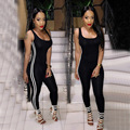 solid stripe Jumpsuit sexy club bandage fitness Jumpsuit one piece sexy female bodysuit women's backless hollow out ba T112