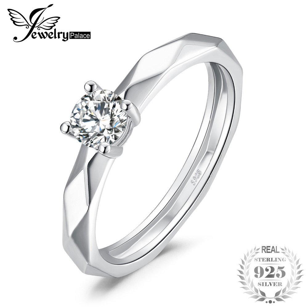 JewelryPalace Multi Faceted 0.6ct Cubic Zirconia Ring 925 Sterling Silver Promise Anniversary Solitaire Engagement Rings Women JewelryPalace Multi Faceted 0.6ct Cubic Zirconia Ring 925 Sterling Silver Promise Anniversary Solitaire Engagement Rings Women