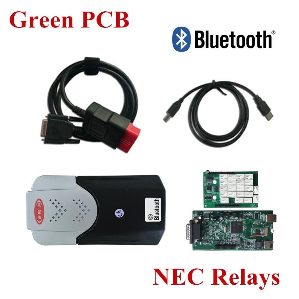 Цена за Зеленый pcb новый VCI VD TCS CDP Bluetooth МВД VD TCS CDP PRO плюс автомобили Грузовики OBD2 автоматического сканирования инструменты 2015. R1/2014. R3 программного обеспечения
