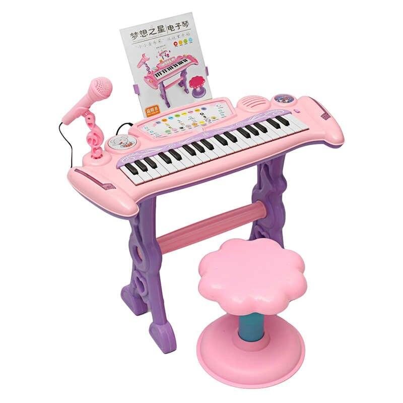 Rosa 37 Key niños teclado electrónico Piano de juguete/micrófono música niños de peluche de juguete de regalo para niños
