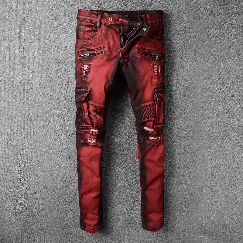 Fashion Streetwear Mannen Jeans Rode Kleur Slim Fit Elastische Spliced Ripped Jeans Mannen Grote Pocket Denim Cargo Broek Biker Jeans homme