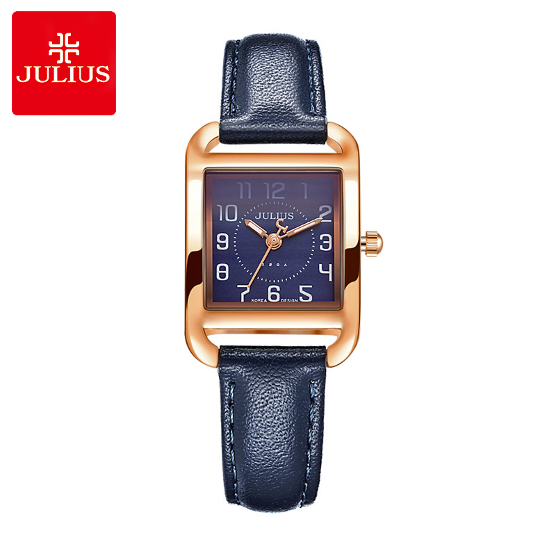 New Lady Women's Watch Japan Quartz Square Elegant Fashion Simple Hours Dress Bracelet Leather Girl Birthday Gift Julius Box