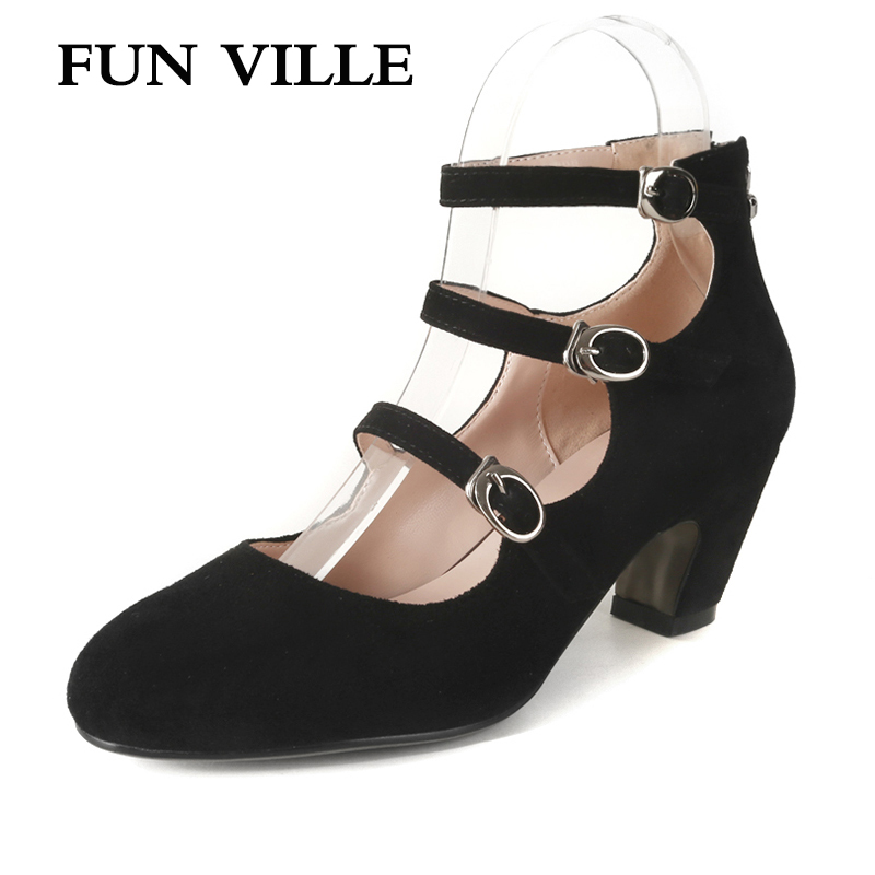 FUN VILLE 2018 Spring New Women Pumps kid suede Mary Janes High Heels Buckle Party shoes Round Toe Lady Shoes Plus Size 34-43 patent leather women shoes pumps square toe strange style high heels mary janes shoes buckle strap spring autumn women pumps