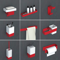 Red Bathroom Hardware Set Toothbrush Holder Metal Bathroom Accessories Spray painting bathroom shelf towel rack soap dispenser