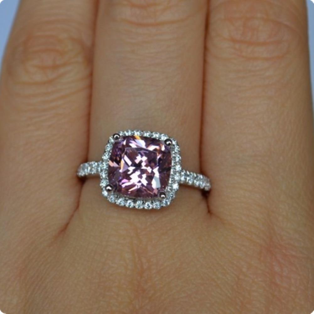Solid 18K White Gold AU750 Ring 2CT Pink Cushion Diamond Engagement Ring...