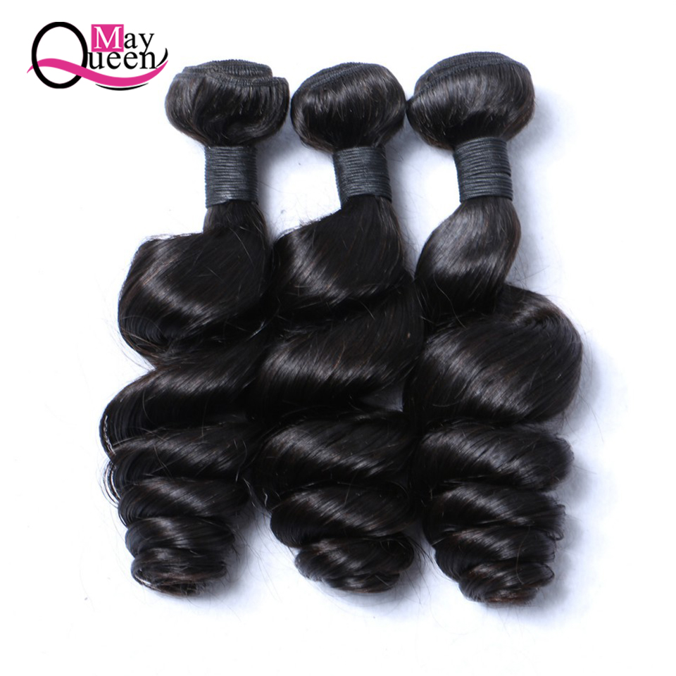 Maj Queen Hair 3 Lös Deep Wave Bundles Brazilian Human Hair Weave - Mänskligt hår (svart)