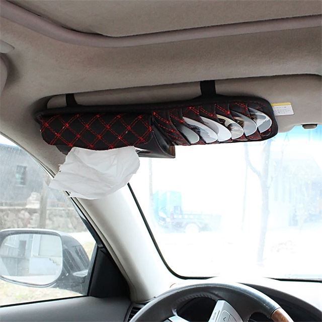 car sun visor cover multi-function holder for DISC CD with tissue box PU leather convenient car sun visor cover 2004