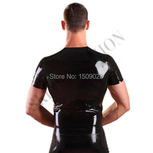 Черные короткие рукава резиновые Топы латекс Тис без Шорты