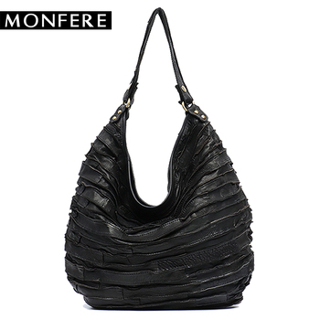 8734f6692e Custom Review MONFE Real Sheep Leather Skin Stripe Hobos Women Large  Capacity Hobo Shoulder Bag Casual Patchwork Genuine Leather Crossbody Bag