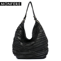 MONFE Real Sheep Leather Skin Stripe Hobos Women Large Capacity Hobo Shoulder Bag Casual Patchwork Genuine Leather Crossbody Bag