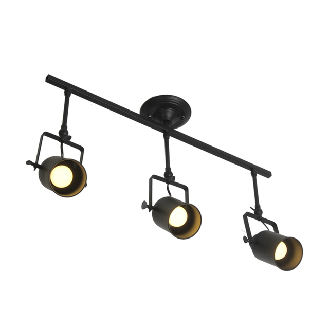 One combo Retro Loft Vintage LED Track Light with canopy Industrial Ceiling Lamp Bar Clothing Personality spotlight 1 2 3 4 Head