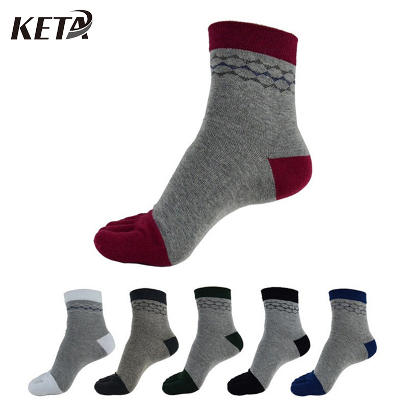 KWTA Men Socks Casual Five Finger Toe Sox Diamond Print Cotton Soft Fashion For Male Colorful Business Dress Socks(6Pairs/lot)