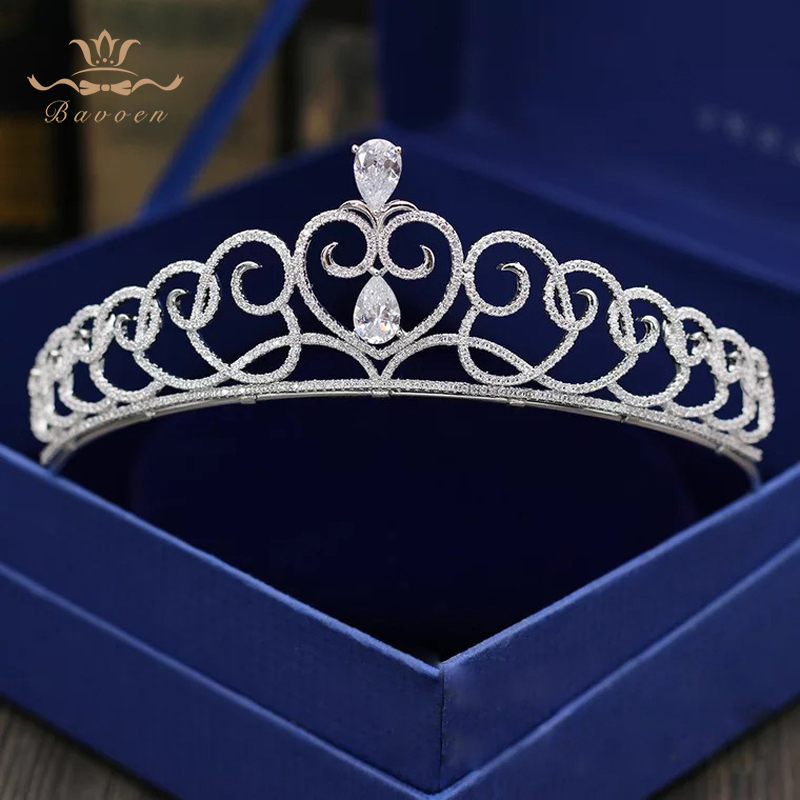 Bavoen Luxurious Royal Zircon Bridal Tiaras Crowns Sparkling Silver Bridal Headbands Crystal Plated Wedding Hair Accessories
